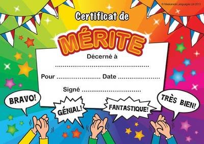 Certificate of Merit: In French Language