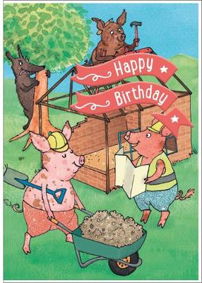Three Little Pigs - Happy Birthday Card-Book: 6 Card-Book Pack