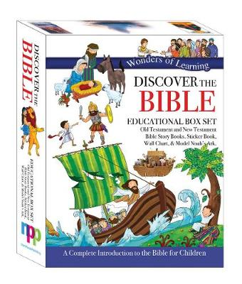 Wonders of Learning Box Set - Old & New Testament Reference Books, Sticker Book, Colouring Wall Chart and Model Ark Kit