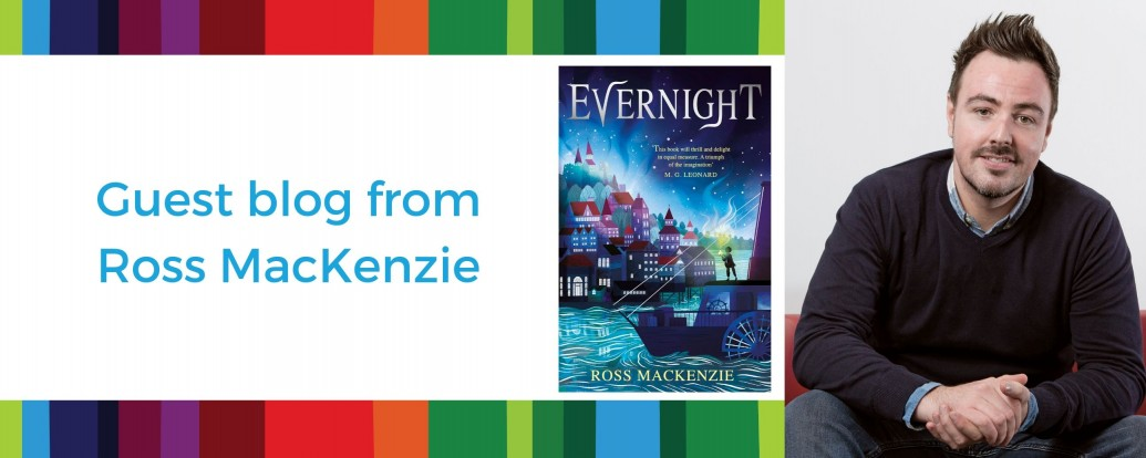 Photo of author Ross MacKenzie and book cover of Evernight