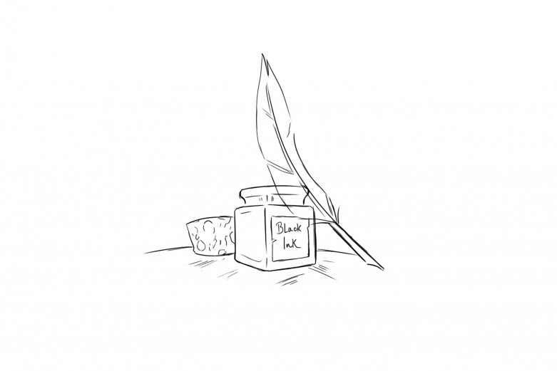 Black and white sketch of an inkpot