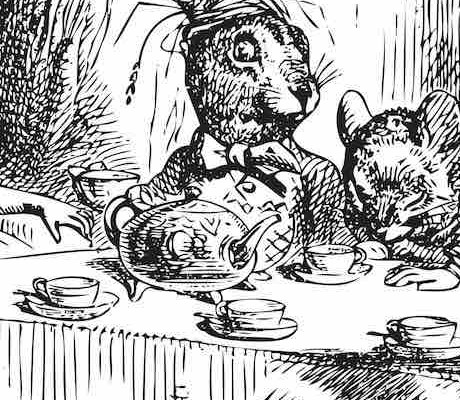 Black and white illustration of Alice in Wonderland at the Mad Hatter Tea Party